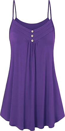 Kobay Women Button Sexy V Neck Cami Tank Tops Ladies Loose Vest Blouse Summer Purple