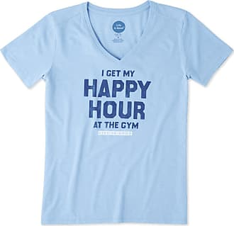 Life is good Womens Happy Hour At The Gym Cool Vee XXL Powder Blue