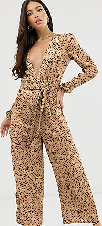 Glamorous wide leg jumpsuit with tie front in spot satin-Tan