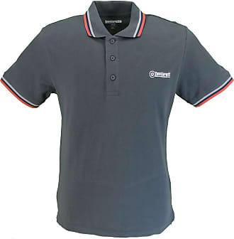 Lambretta Mens Classic Tipped Polo Shirts (XX Large, Dark Shadow/Grey/Navy/Red)