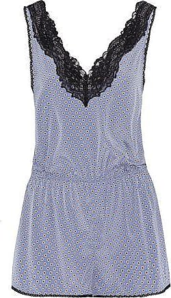 e15ecd130f Stella McCartney Stella Mccartney Woman Poppy Snoozing Lace-trimmed Printed  Stretch-silk Playsuit Light
