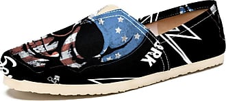 Tizorax American Flag Face Skull Mens Slip on Loafers Casual Canvas Shoe Flat Boat Shoes