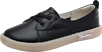 Daytwork Women Lace Up Soft Leather Shoes - Ladies Casual Moccasins Classic Driving Lightweight Pumps Work Travel Flat Loafer Black