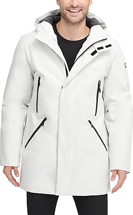 DKNY Mens Water Resistant Hooded Logo Parka Jacket, Ice, Medium