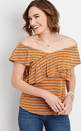 Maurices Ruffled Stripe Criss Cross Top