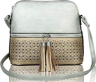 LeahWard Womens Quality Faux Leather Cross Body Bags Tassel Shoulder Bag Handbags For Holiday Party 1061 (RX171061-Silver/Gold)