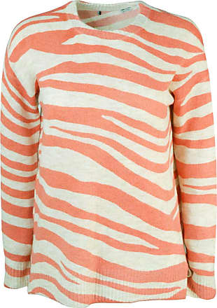 White Label Oasis Womens Coral Ivory Tiger Wave Stripe Summer Jumper Crew Neck Relaxed Fit Size M