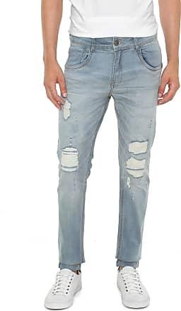 Zune Jeans Calça Jeans Zune Slim Destroyed Azul
