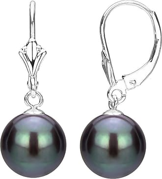 Leverback Earrings 14k White Gold 7-8mm Pink Freshwater High Luster Pearl