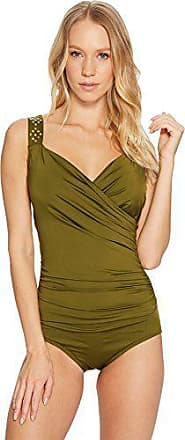 f4f88d6d8d43e Jantzen Womens Solid Novelty Shoulder Draped Surplice One Piece Swimsuit,  Olive Me, 8