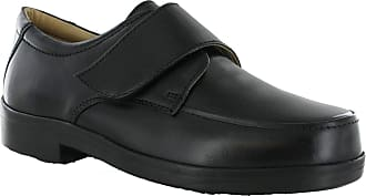 Roamers Wide Fit EEE Velcro Strap Flat Leather Smat Casual Shoes (UK 14, Black)