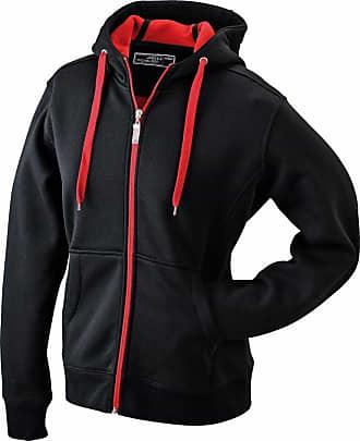 James & Nicholson JN355 Mens Doubleface Sweat Jacket Black/red Size L