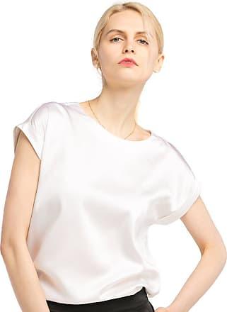 LilySilk Silk T Shirt for Ladies Short Sleeves Round Neck 19MM Pure Silk All-Matching Elegant Shirt White Size M