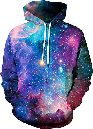 EUDOLAH Mens Long Sleeve Tops Graphic 3D Prints Hoodies Novelty Sweatshirts Colourful Pullover Jumpers (L/XL, 01 Galaxy)