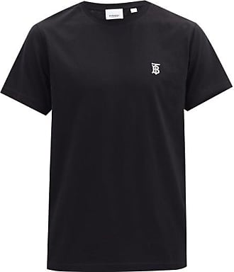 Burberry Parker Logo-embroidered Cotton T-shirt - Mens - Black