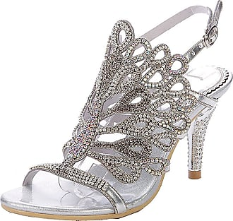 Find Nice Ladies Beautiful Rhinestones Wedding Dress Bride Evening OL Slingback Party Peafowl Sandals Silver 5.5 UK