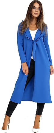 Top Fashion18 Ladies Plus Size Long Sleeved Frill Neck Knot Duster Dress Jacket Coat Size 8-24 Royal Blue