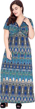 YiJee Womens Vintage Printed Dress V-Neck Short Sleeve Dresses Holiday Beachwear Plus Size Blue 2XL