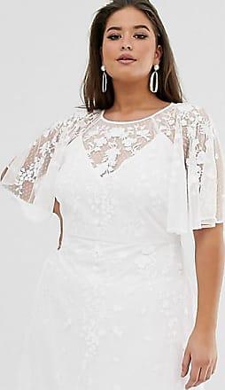 Asos Curve - Lange trouwjurk met geborduurde fladdermouwen-Wit