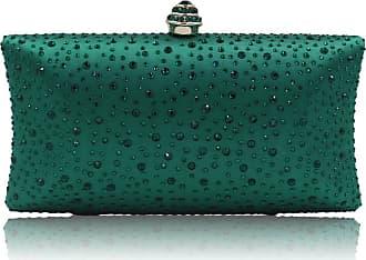 YYW Fashion Womens Glitter Clutch Bag Crystal Diamante Rhinestone Sparkly Evening Bridal Prom Party Handbag Purse (Green)
