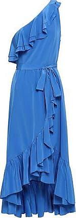 Joie Joie Woman Damica One-shoulder Washed-silk Midi Wrap Dress Blue Size XXS
