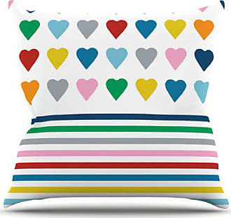 KESS InHouse Project M Heart Stripes Throw Pillow, 16 by 16-Inch