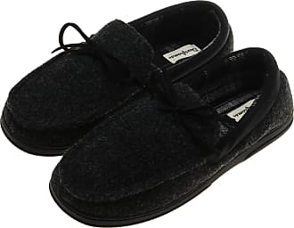 Dearfoams Mens Microsuede, Plaid Lined Moccasin Slipper, Black/Grey (X-Large)