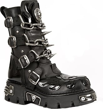 New Rock Mens Black Leather Skull Flame Reactor Boots M.727-S1 46