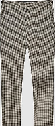 Reiss Vallarta - Check Wool Trousers in Mid Brown, Mens, Size 28