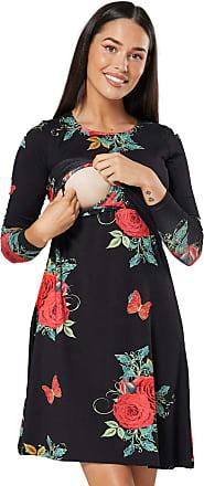 Zeta Ville Zeta Ville - Womens Maternity Nursing Layer Dress Round Neck Long Sleeve - 128c (Black with Red Roses, UK 16/18, 2XL)