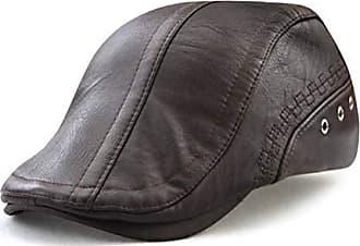 Herren PU-Leder Barett Hut Schiebermütze Unisex Mützen Cabbie Schirmmütze Kappe