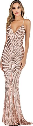 YYW Womens Sexy V-neck Sequin Mermaid Evening Gown Dress for Party Prom Wedding Cocktail (Apricot,Xl)