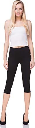 FUTURO FASHION Cropped Cotton Classic 3/4 Leggings Comfortable Yoga Fitness Gym, Black, 24
