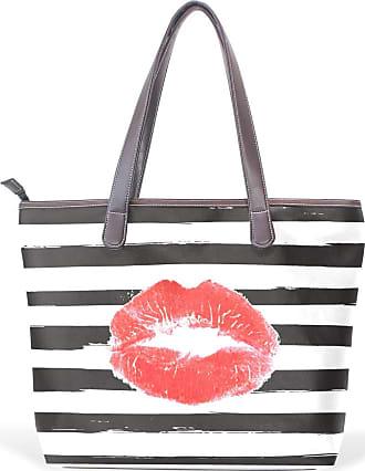 NaiiaN Shoulder Bags for Women Girls Ladies Student Lake Handbags Light Weight Strap Leather Sexy Red Lips Kiss Fashion Black White Stripe Tote Bag Purse Sho