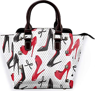 Browncin Red Black High Heel Shoes Bowknots Dots Detachable Fashion Trend Ladies Handbag Shoulder Bag Messenger Bags