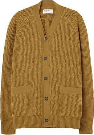 Universal Works Vince Cardigan In Senf Rack Stitch Knit - L