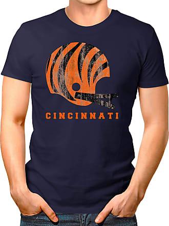 OM3 Cincinnati-Helmet - T-Shirt | Mens | American Football Shirt | S, Navy