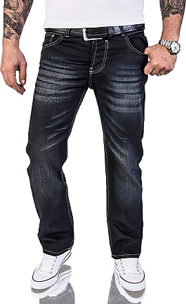 Rock Creek Mens Designer Denim, Waxed, Coated Stonewashed Jeans, RC-2064 - Black - W40