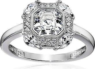 Amazon Collection Platinum-Plated Sterling Silver Celebrity Pippa Swarovski Zirconia Asscher Cut Antique Ring, Size 7