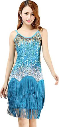 YiJee Women Sequin Latin Dresses Paisley Pattern Tiered Tassel Sling Dress Light Blue