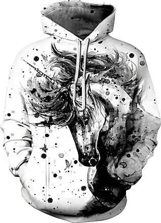 EUDOLAH Mens Long Sleeve Sweatshirts Neon Printed Hoodies 3D Graphic Jumpers Animal Sportswear (Tag 2XL/3XL, 398unicorn-g)