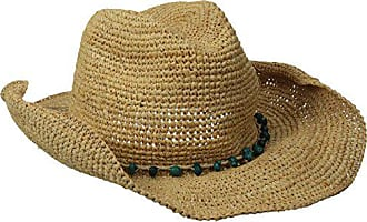 b4d8fcd6cd001c San Diego Hat Company Womens Crochet Raffia Cowboy Hat with Turquoise Hat  with Beaded Trim,