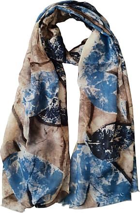GlamLondon Womens Bright Printed Leaves Scarf (Blue)