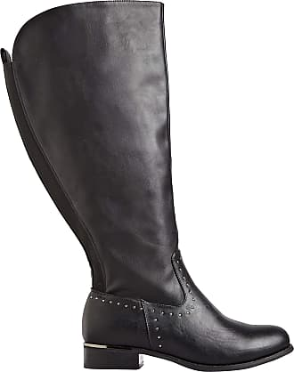 Yours Clothing Clothing Plus Size Womens Studded Trim Stretch Knee High Boots in Extra Wide Fit Size 10EEE Black