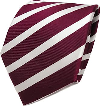 TigerTie Designer silk tie red bordeaux silver striped - tie necktie silk