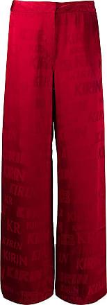 Kirin Calça de cetim com logo corrido - Vermelho