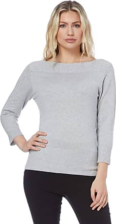 Roman Originals Women Jumper - Ladies Boat Neck Smart Formal Everyday Casual Classy Lightweight Plain Knitwear Sweater Pullover Sweatshirt Autumn Winter - Light-Grey
