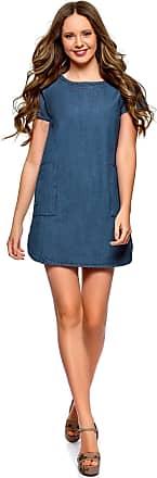 oodji Womens Straight Denim Dress, Blue, UK 10 / EU 40 / M