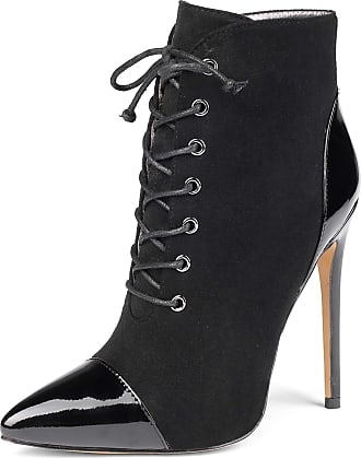 EDEFS Womens Pointed Toe Lace Up Ankle Boots Side Zipper Short Booties EU45/UK10.5
