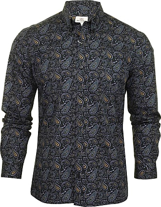 Ben Sherman Mens Classic Paisley Long Sleeved Shirt (Anthracite) XXL